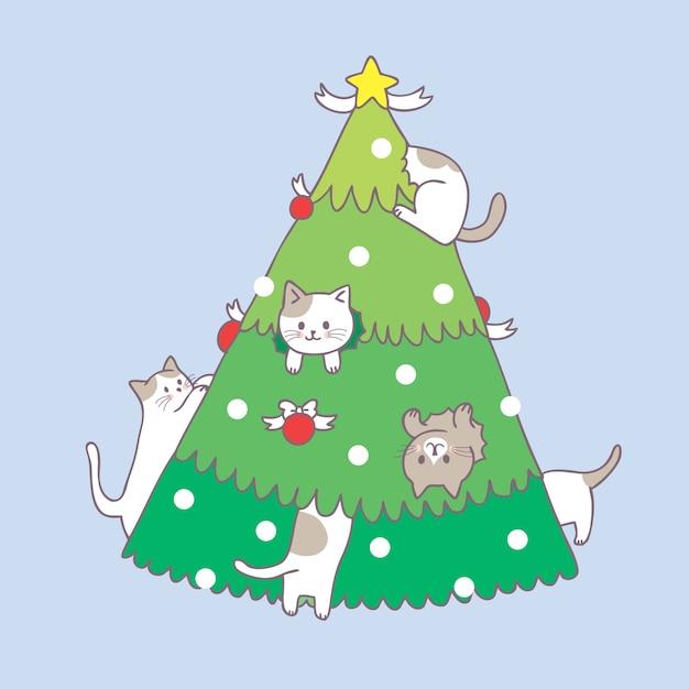 cartoon cute christmas cat and christmas tree vector premium vector