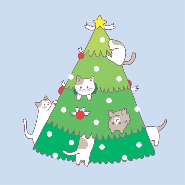 premium vector cartoon cute christmas cat and christmas tree vector https www freepik com profile preagreement getstarted 3195685