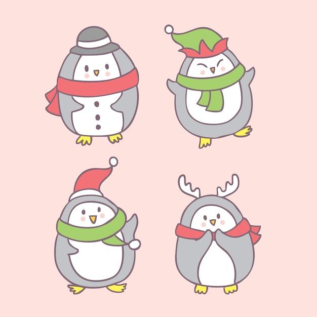 Christmas Dancing Cartoon.Cartoon Cute Christmas Penguin Dancing Vector Vector