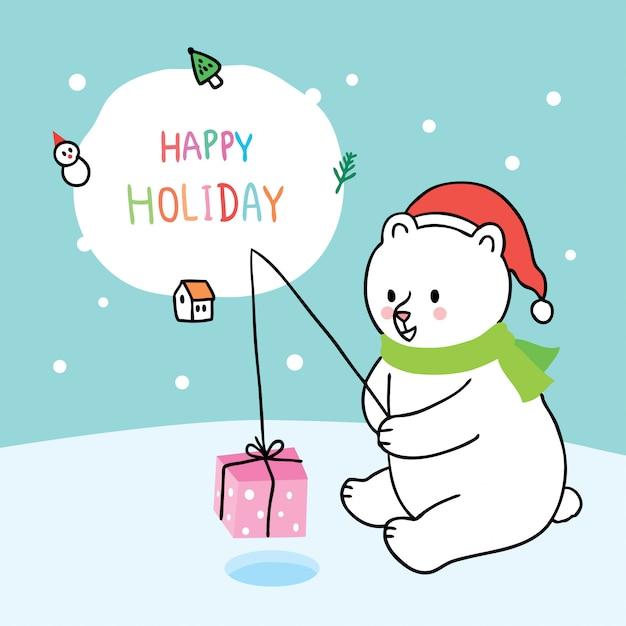 Cartoon cute christmas polar bear fishing gift . Premium Vector