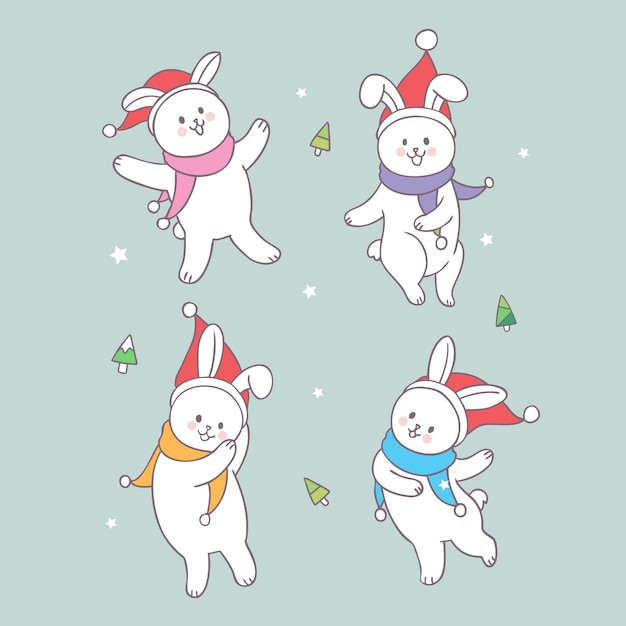 Christmas Dancing Cartoon.Cartoon Cute Christmas Rabbits Dancing Vector Vector