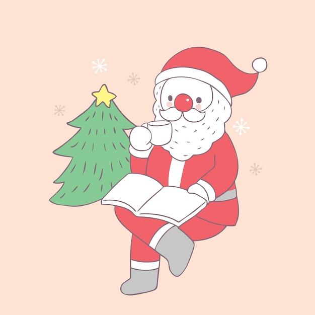 Cartoon cute christmas santa claus drinking coffee vector. Premium Vector