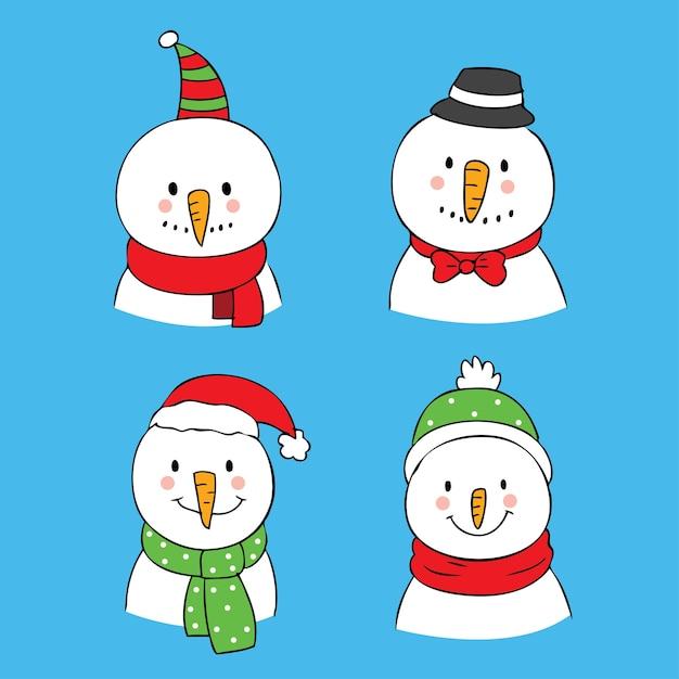 Cartoon cute christmas snowman vector. Premium Vector