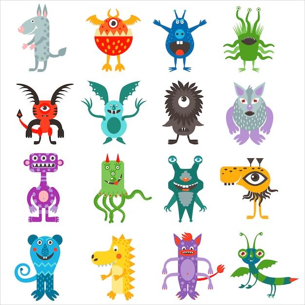 Cartoon cute color monsters aliens collection. Premium Vector