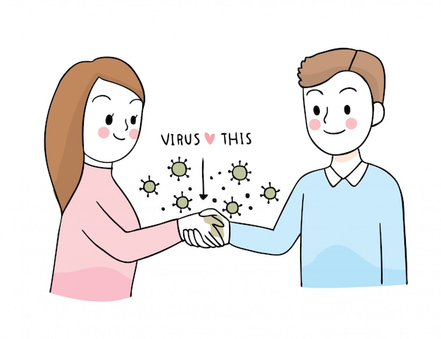 Cartoon cute coronavirus, covid-19, woman greeting shake hand with friend Premium Vector