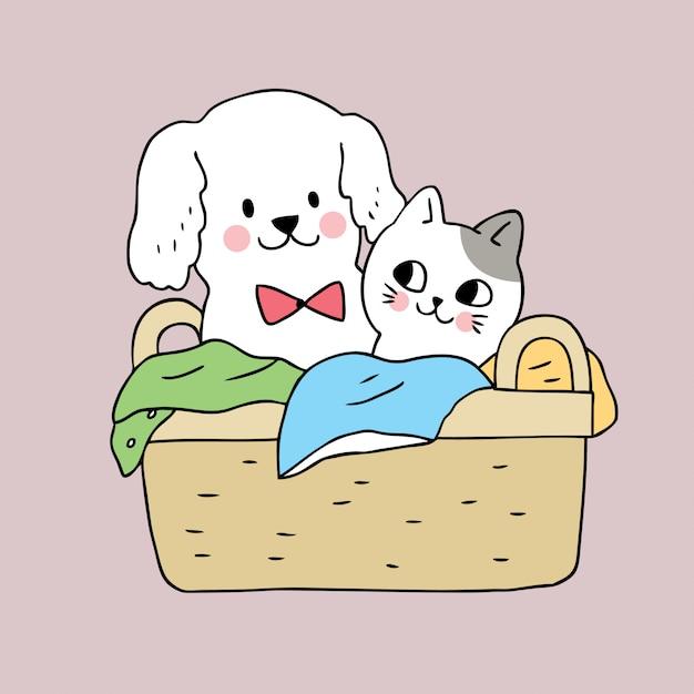 Cartoon Cute Dog And Cat In Basket Premium Vector