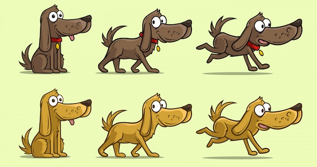 Cartoon cute dog in different positions Premium Vector