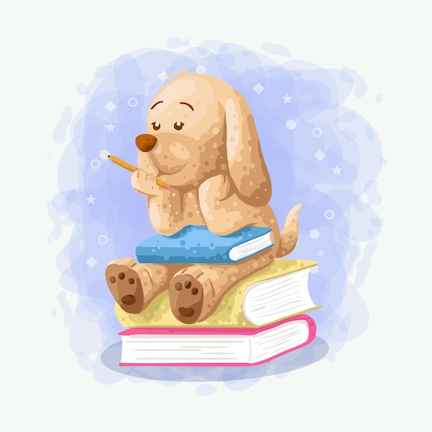 Cartoon cute dog sit on the book illustration vector Premium Vector