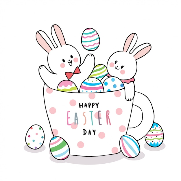 Cartoon cute easter day rabbits and colorful eggs in a cup coffee  . Premium Vector