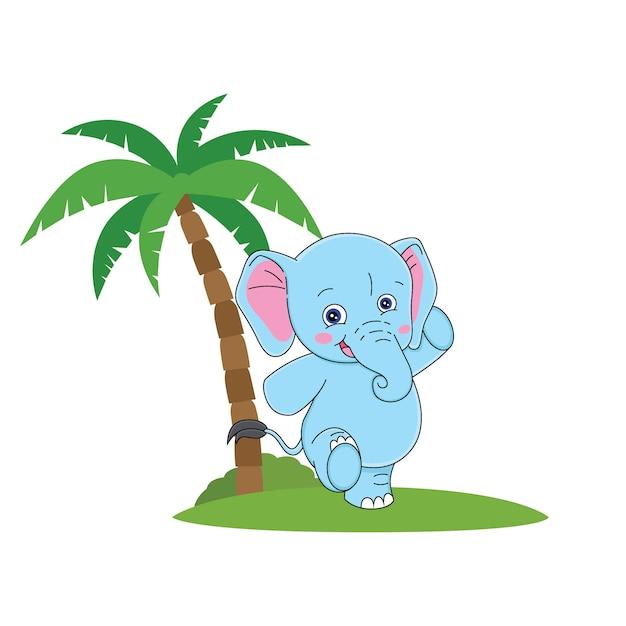 Cartoon cute elephant with a smile face Premium Vector