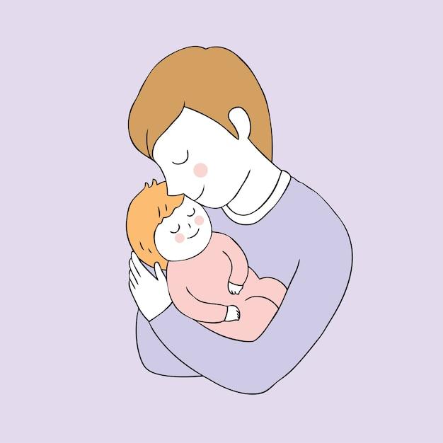 漫画かわいい父と娘のベクトル。 Premiumベクター