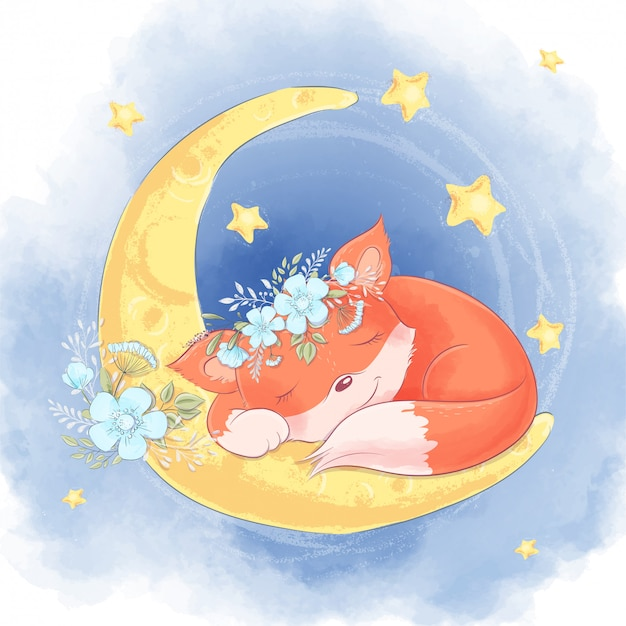 Cartoon cute fox with white flowers sleeping on the moon Premium Vector
