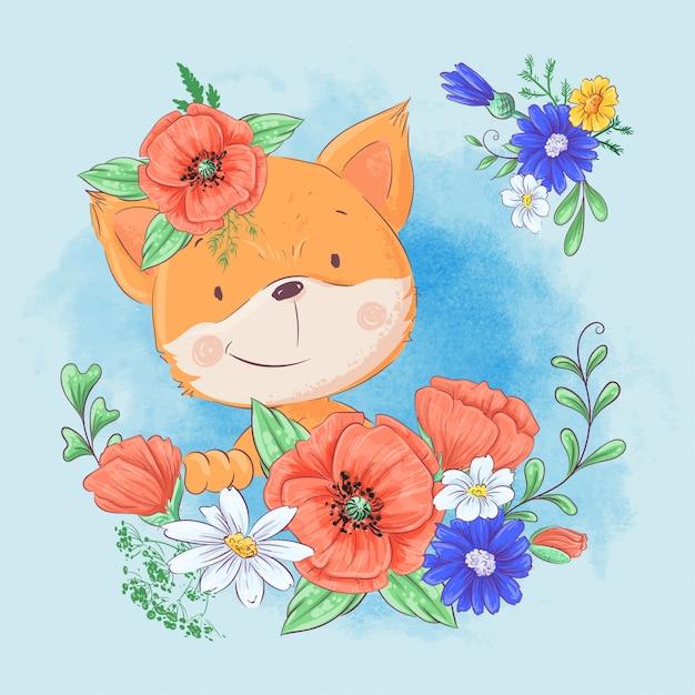 Cartoon cute fox in a wreath of red poppies and cornflowers Premium Vector