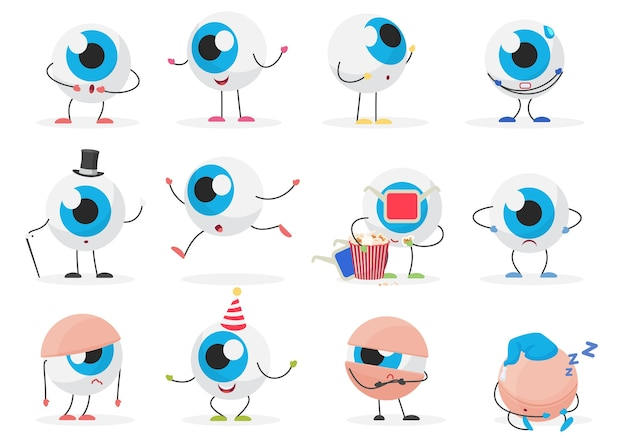 Мультфильм милый забавный глаз мяч смайлик персонаж эмоции позы набор Premium векторы