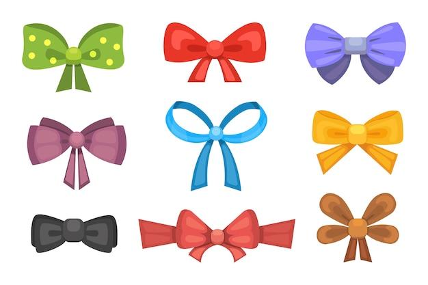 リボンと漫画かわいいギフト弓。カラー蝶ネクタイ。 Premiumベクター