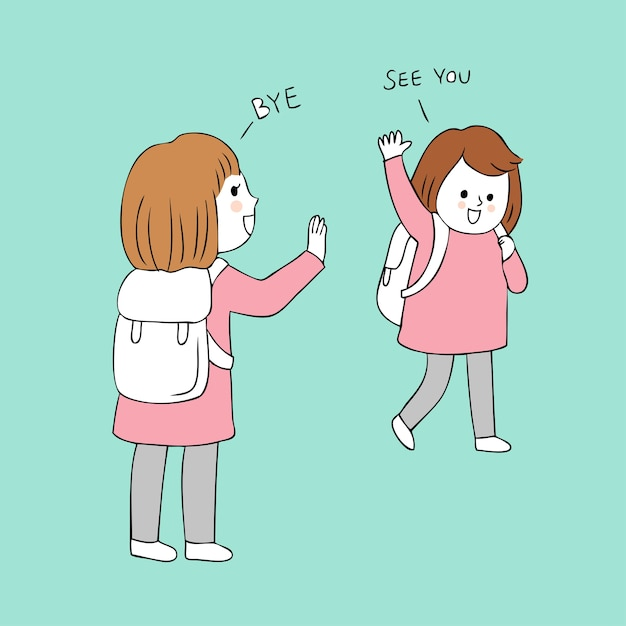 Cartoon cute girls greeting vector. Premium Vector