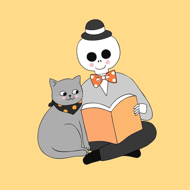 Cartoon cute halloween cat  and skull reading book vector. Premium Vector