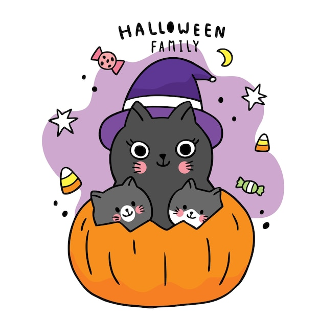 만화 귀여운 할로윈 데이, 검은 고양이 가족 속임수 또는 큰 호박 치료 프리미엄 벡터