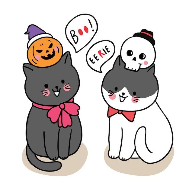 만화 귀여운 할로윈 데이, 검은 고양이 속임수 또는 치료 프리미엄 벡터