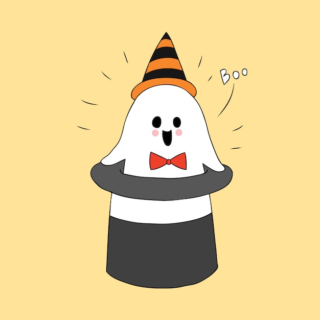 Cartoon cute halloween ghost and hat vector. Premium Vector