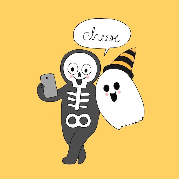 Cartoon cute halloween ghost and skeleton selfie vector. Premium Vector