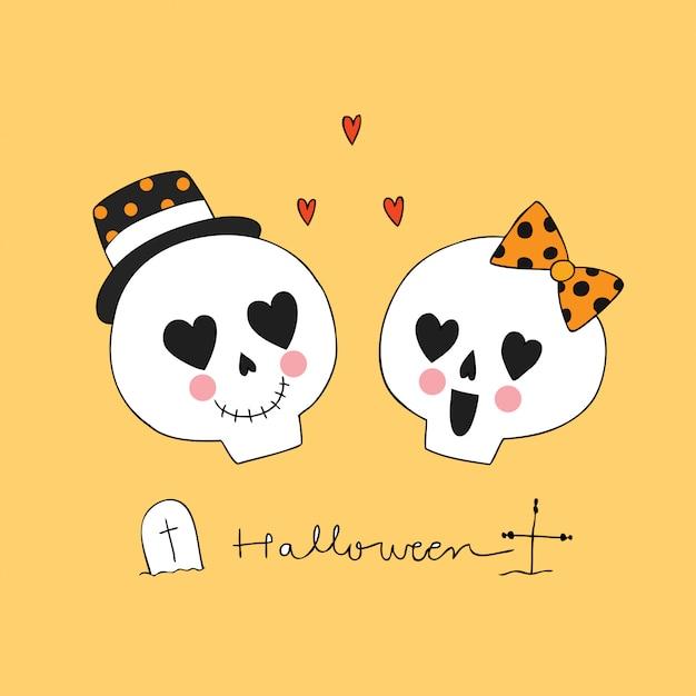 Cartoon cute halloween lover skeletons vector. Premium Vector