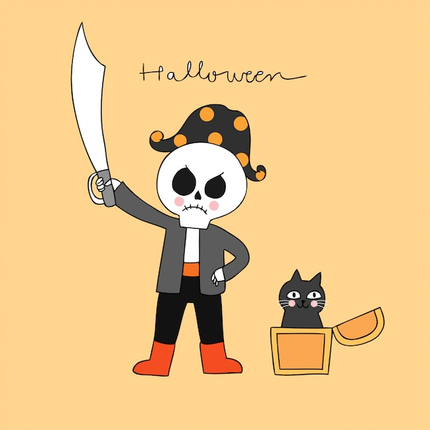 Cartoon cute halloween pirate skeleton and black cat vector. Premium Vector