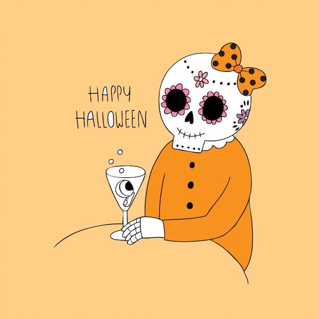 Cartoon cute halloween skeleton and drinking vector. Premium Vector