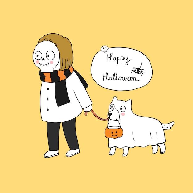 Cartoon cute halloween skull and ghost dog vector. Premium Vector