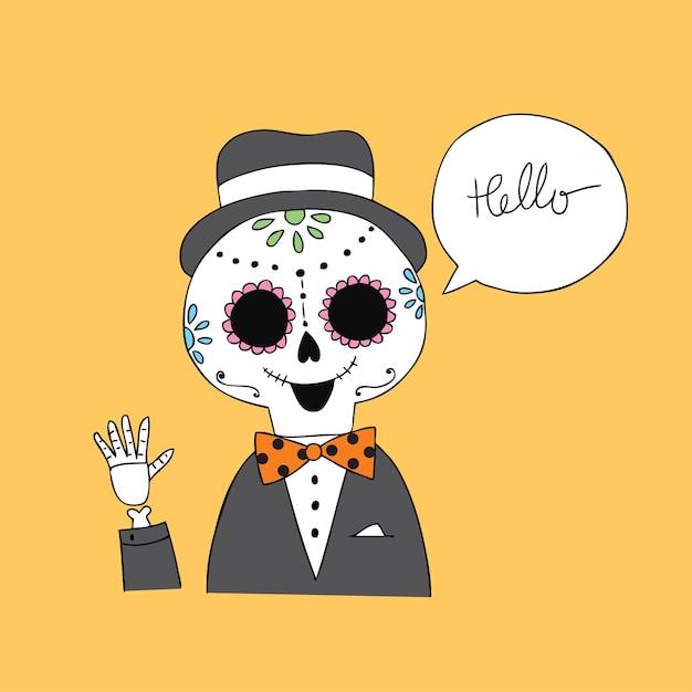 Cartoon cute halloween skull vector. Premium Vector