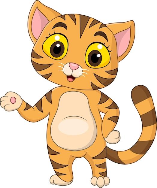 화이트에 제시하는 만화 귀여운 고양이 프리미엄 벡터