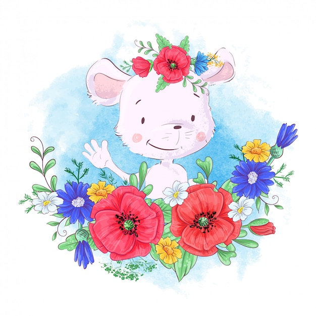 Cartoon cute little mouse in a wreath of red poppies and cornflowers Premium Vector