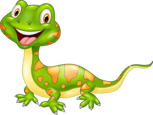 Cartoon cute lizard Premium Vector
