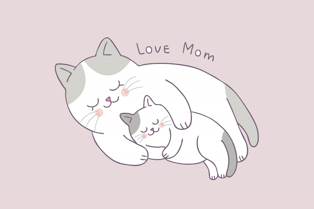 Cartoon Cute Mom And Baby Cat Sleeping Vector Premium Vector