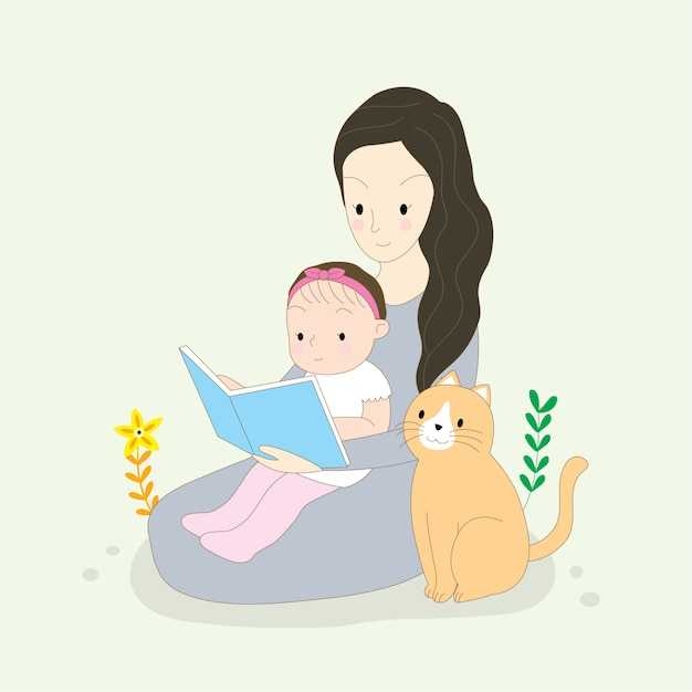 Cartoon Cute Mom And Baby Reading Book And Cat Vector