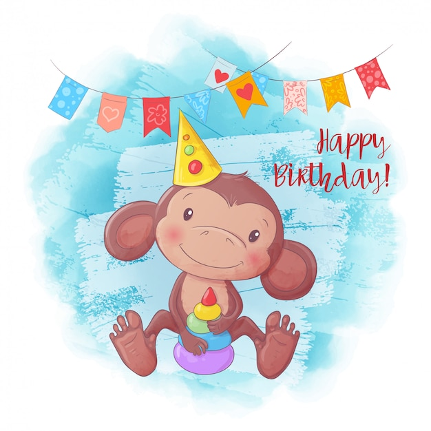 Cartoon cute monkey with a pyramid. birthday card. Premium Vector