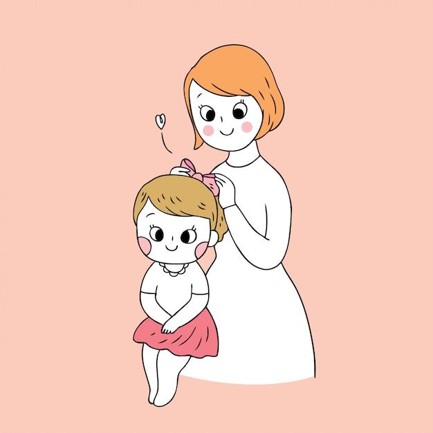 Cartoon cute mother and daughter vector. Premium Vector