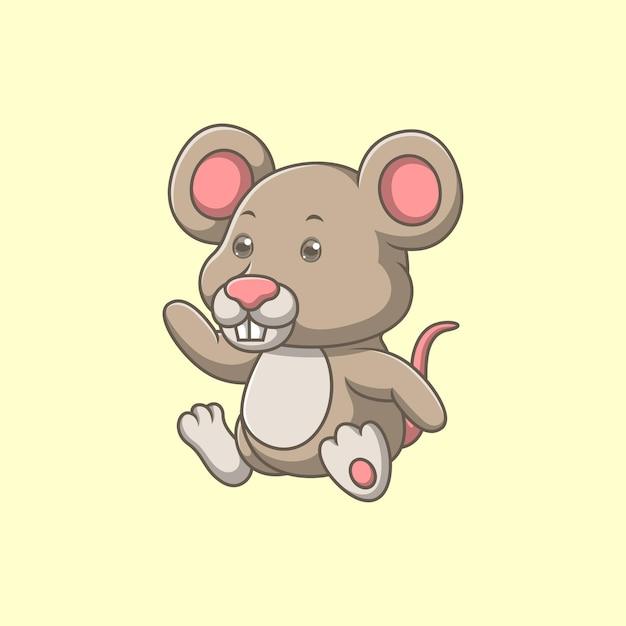 Мультфильм милая мышь машет рукой Premium векторы