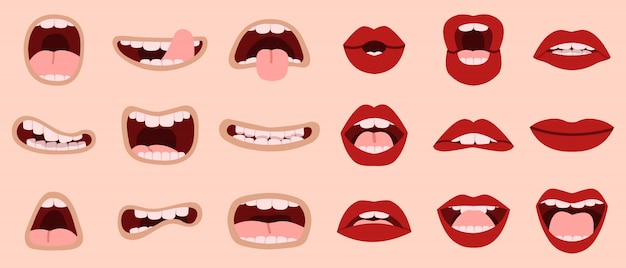 Cartoon cute mouth. hand drawn comic mouths and lips, laughing with teeth and showing tongues caricature mouths  illustration icons set. makeup lip, tongue sticking, romantic and shouting Premium Vector