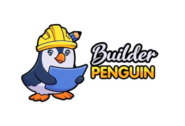 Cartoon cute penguin contractor builder holding blueprint and wearing safety helmet character mascot logo Premium Vector