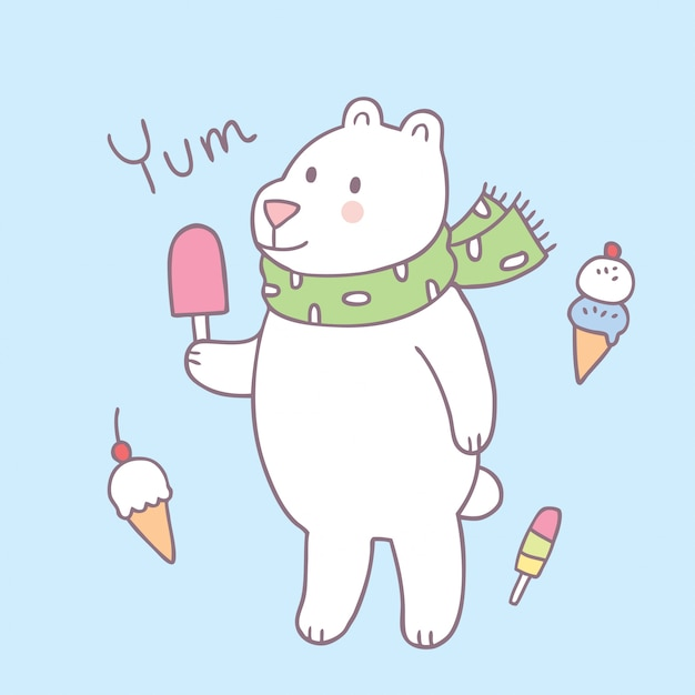 Cartoon cute polar bear and ice cream vector. Premium Vector