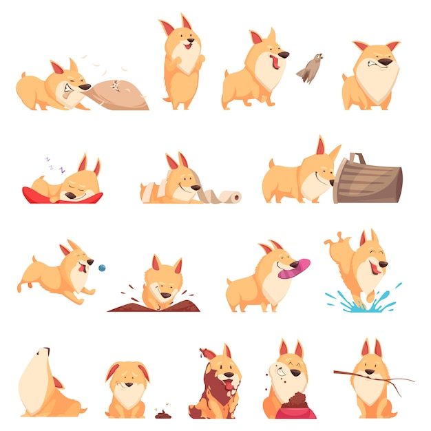 Cartoon cute puppy set of different situations Free Vector