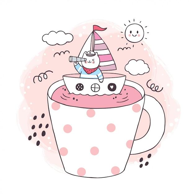 大きなコーヒーカップに船で漫画かわいい船乗り猫 Premiumベクター