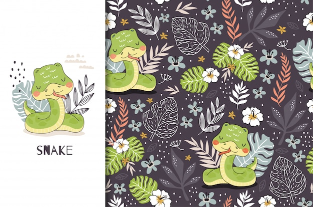 Cartoon cute snake baby character. jungle animal card and seamless  pattern. hand drawn  design Premium Vector