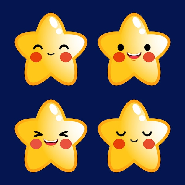 만화 귀여운 별 이모티콘 아바타 얼굴 긍정적 인 감정 세트 주식 프리미엄 벡터