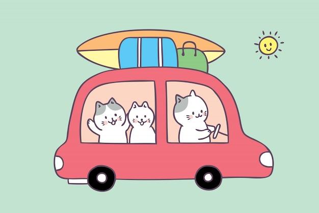 Cartoon cute summer family cat travel vector. Premium Vector