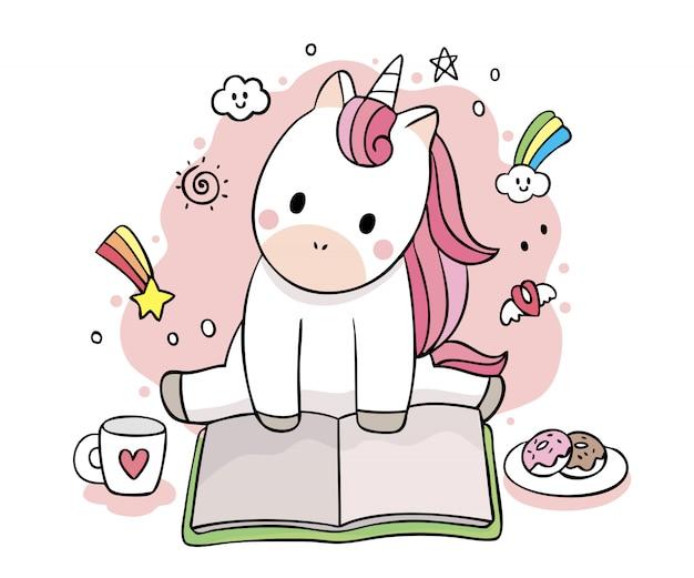 Вектор картины книги чтения единорога милого сладостного милый безшовный. Premium векторы