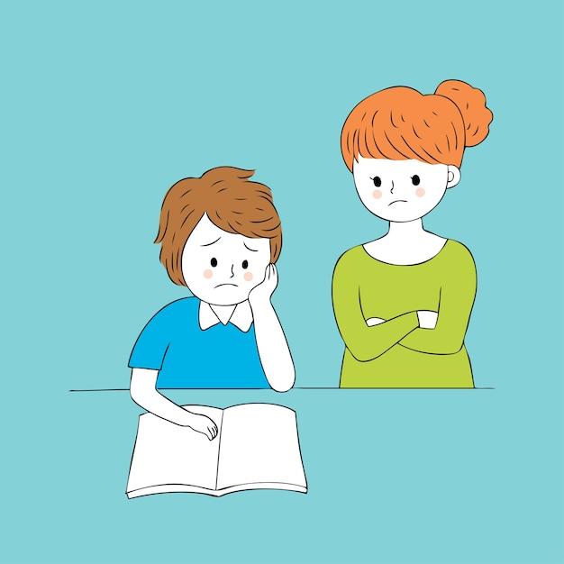 Cartoon Cute Teacher And Sad Boy Vector Vector Premium Download