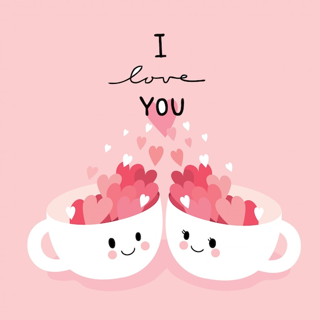Cartoon cute valentines day couple  cats and heart vector. Premium Vector