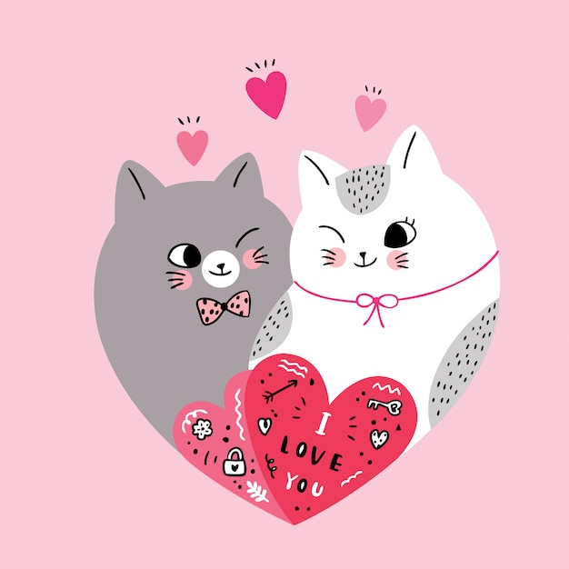 Premium Vector Cartoon Cute Valentines Day Couple Cats In Shape Heart Vector